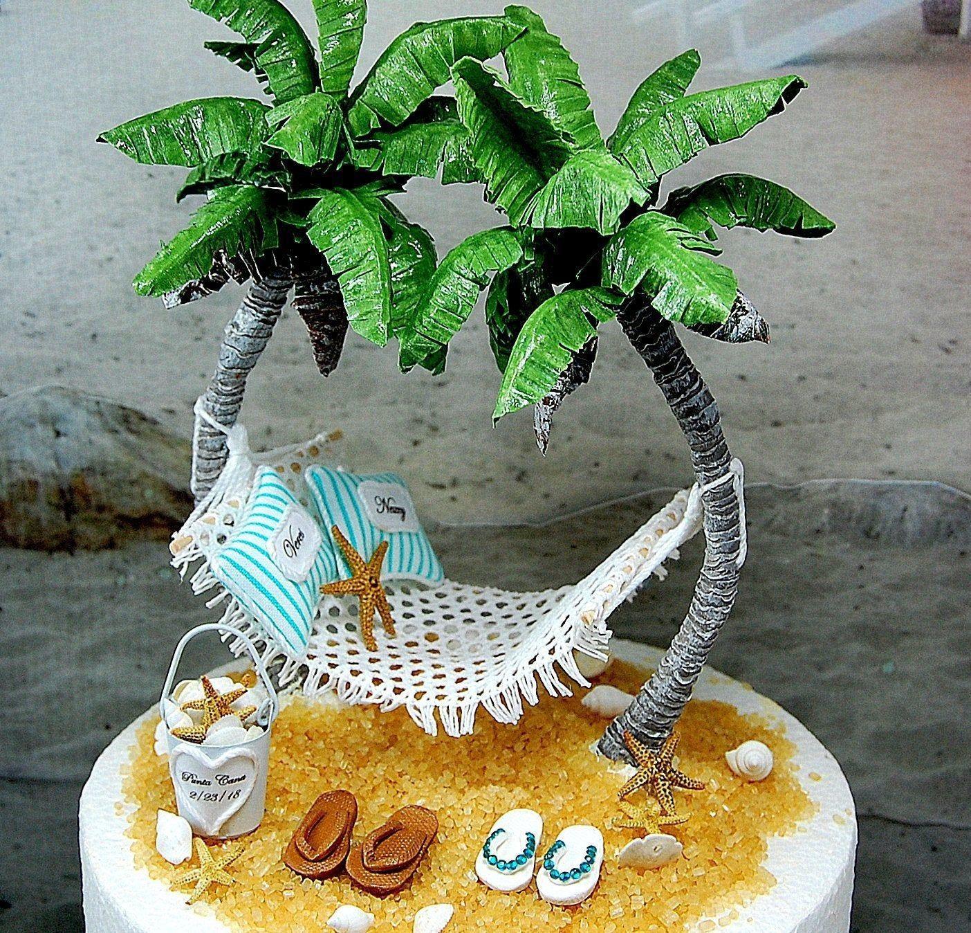 Beach wedding cake topper custom colors 6 inch tier