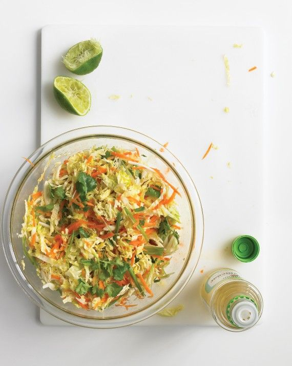 Lime juice and rice vinegar stand in for the usual mayonnaise dressing, while cilantro and jalapeno add an invigorating backbone to this…
