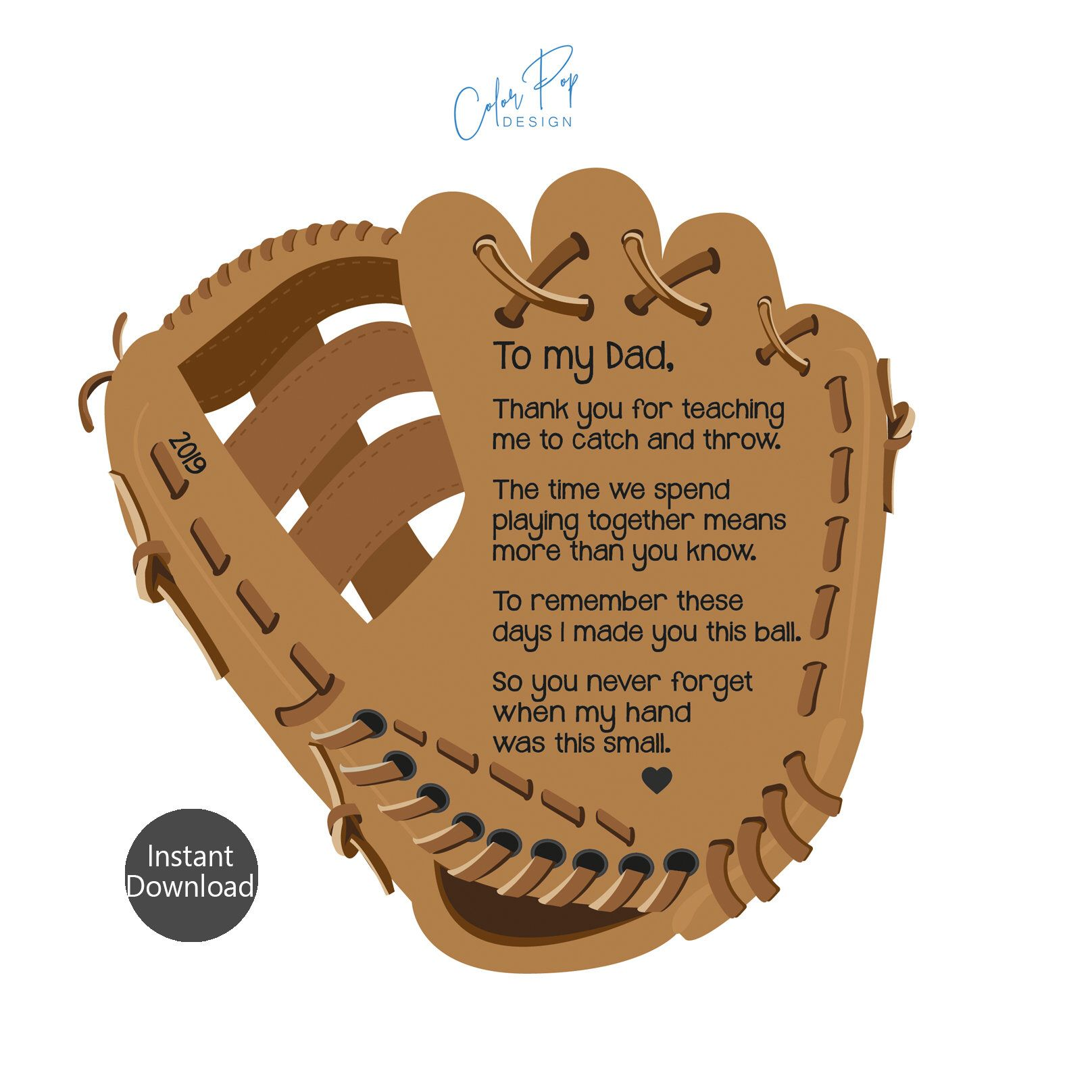 Fathers day gift baseball glove with poem fathers day
