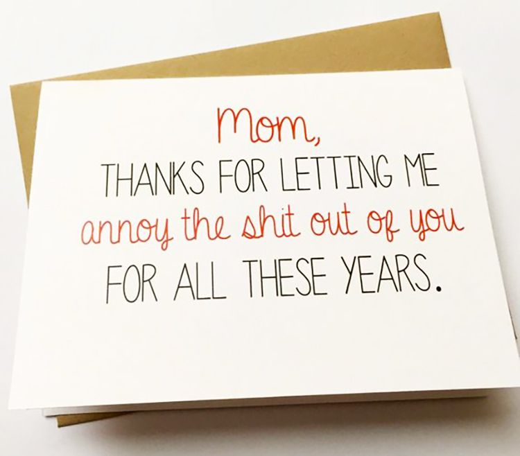 Funny mom card snarky mothers day card mom birthday