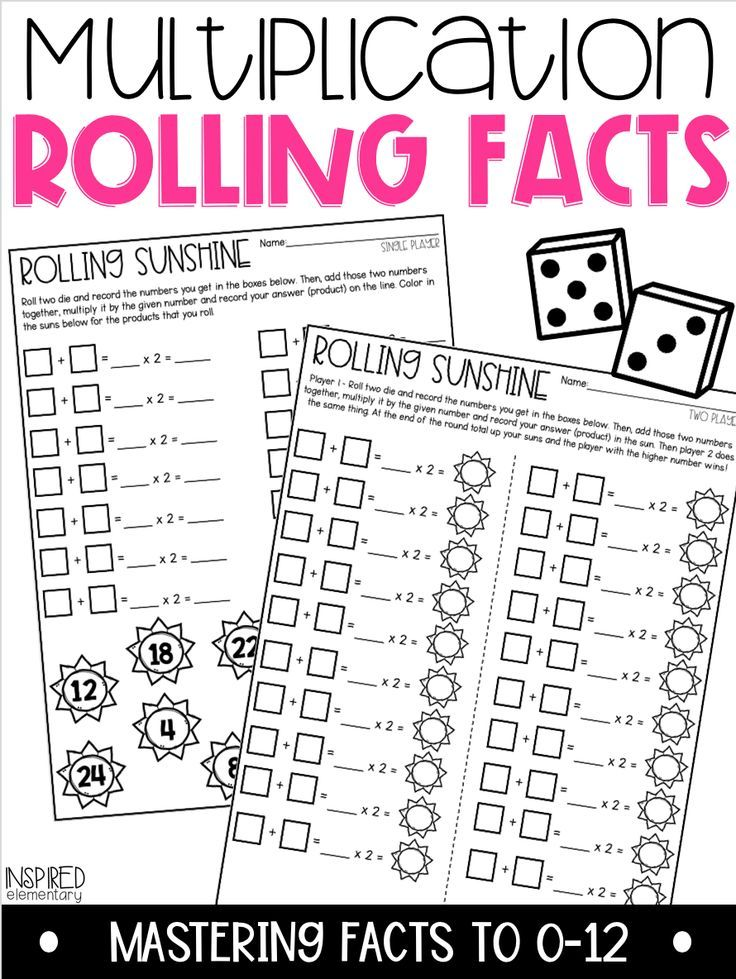 Multiplication Rolling Facts Multiplication Facts to 12