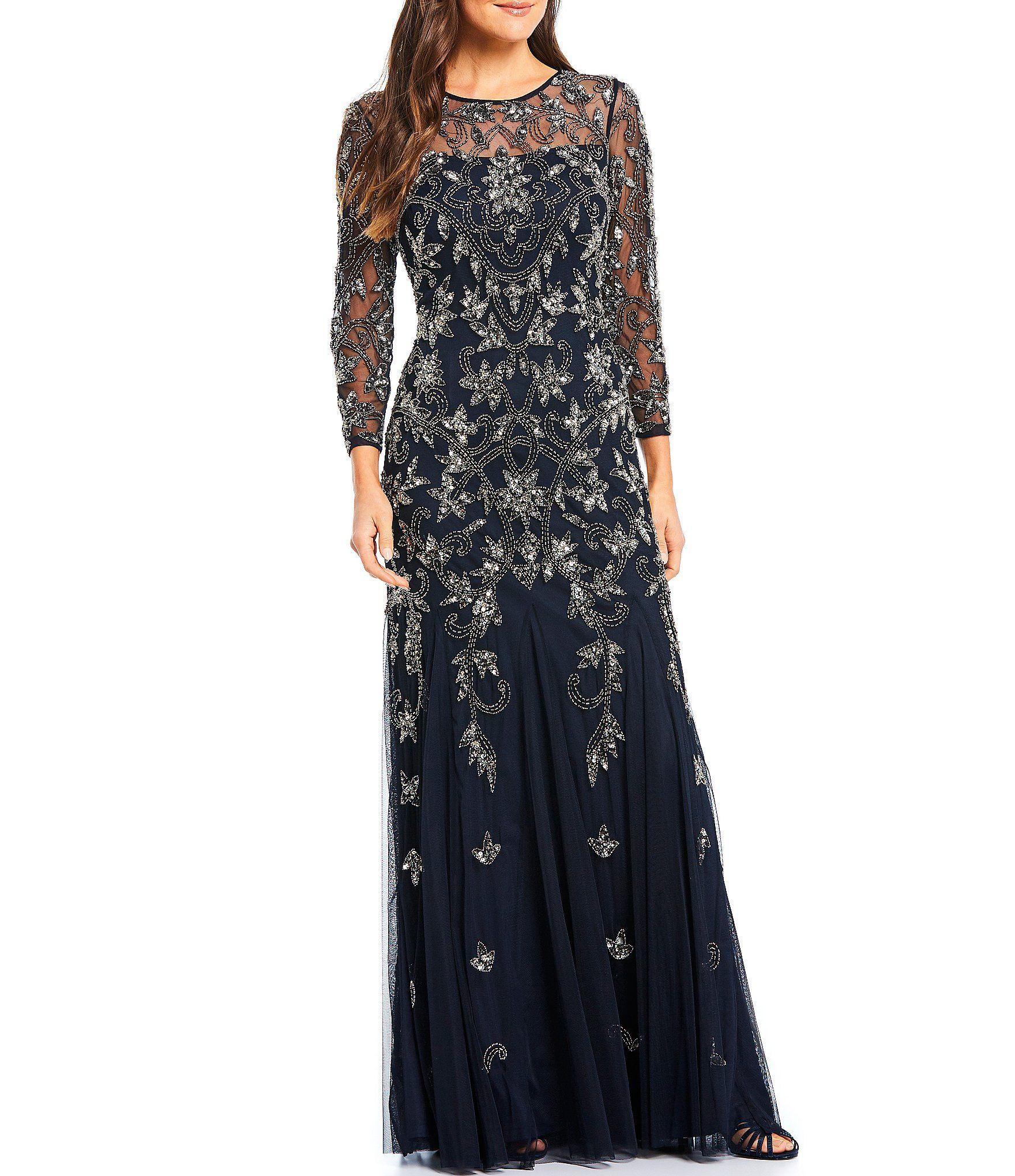 Adrianna Papell Beaded Illusion 3 4 Sleeve Gown Dillard S In 2021 Dillards Dress Wedding Dress Inspiration Women Wedding Guest Dresses [ 2040 x 1760 Pixel ]