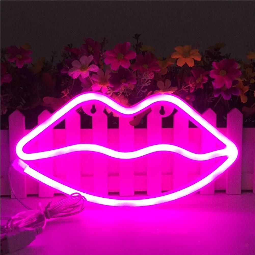 Pink Neon Lips Neon Lights Bedroom Pink Neon Sign Neon Sign Bedroom