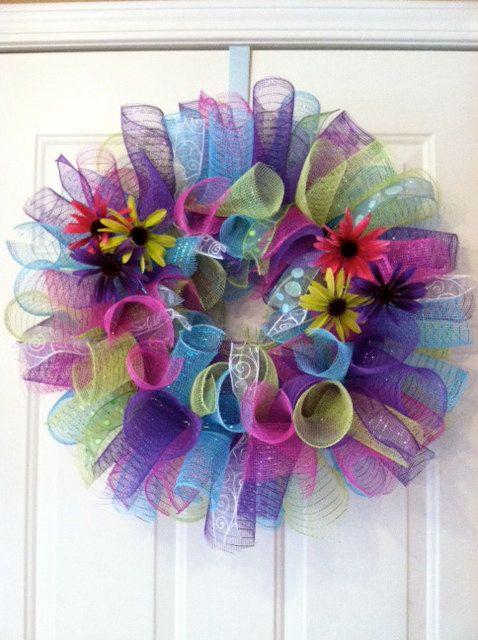 Fun Summer Mesh Wreath - colorful and fun!