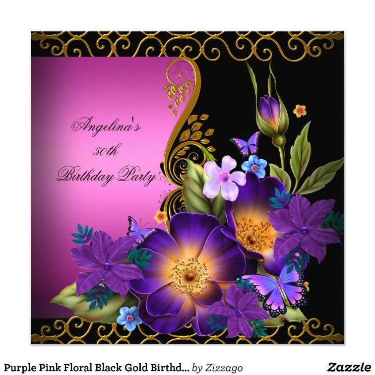 purple pink floral black gold birthday party announcements