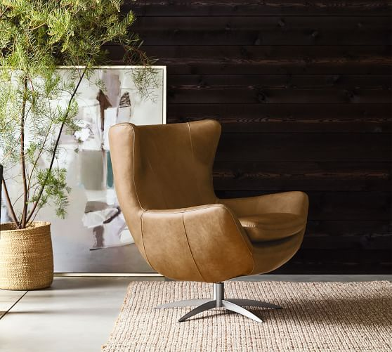 Wells Leather Tight Back Swivel Armchair Bronze Base
