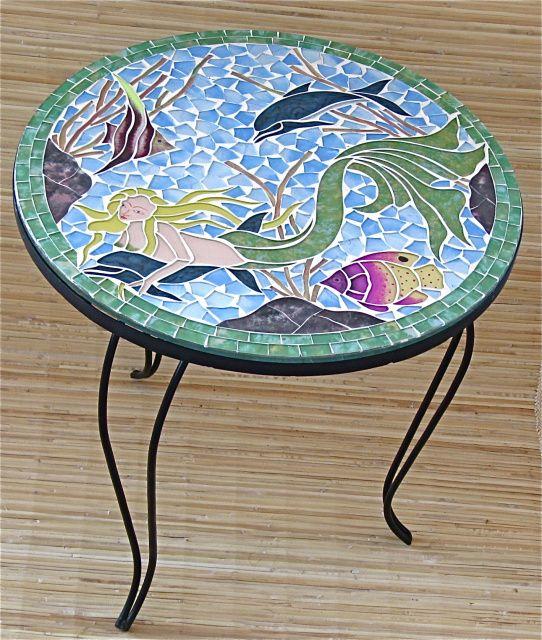Table Mosaic Patterns: Mermaid Mosaic, Sea Glass Mosaic