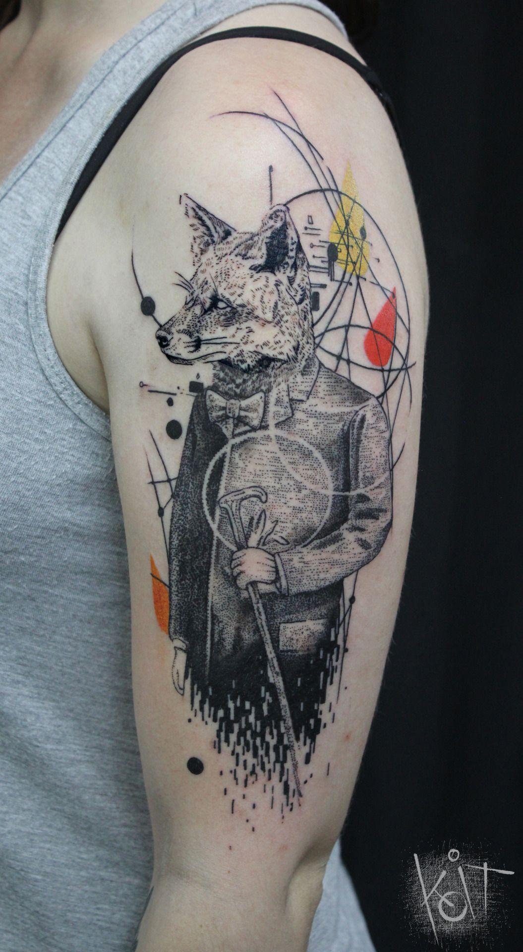 Graphic Style Fox Arm Tattoo By Koit Based In Berlin Travelling Fox Tattoo Tattoos Body Art Tattoos