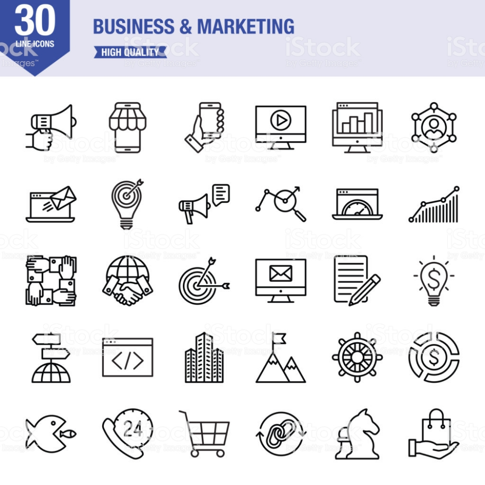 Business Marketing Strategy Finance Office Icon Line Icon Icon Set Vector Icon Set