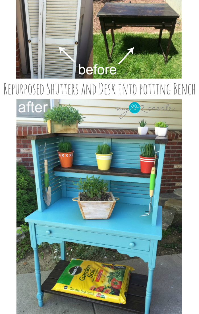 Upcycled Shutters And Desk Into Potting Bench Shutters
