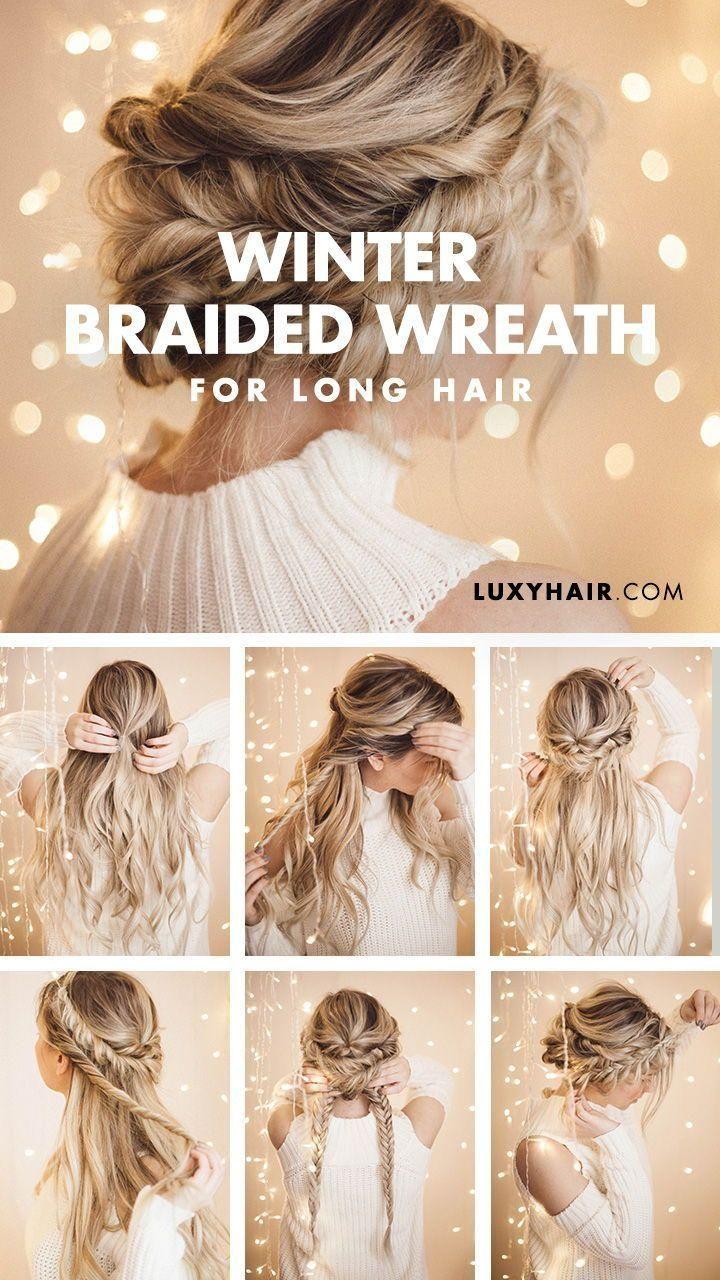 Braided Halo Hairstyle Easy Updo For Long Hair Pinterest Hair Perfektes Haar Braided Halo Hairstyle Long Hair Updo Braids For Long Hair