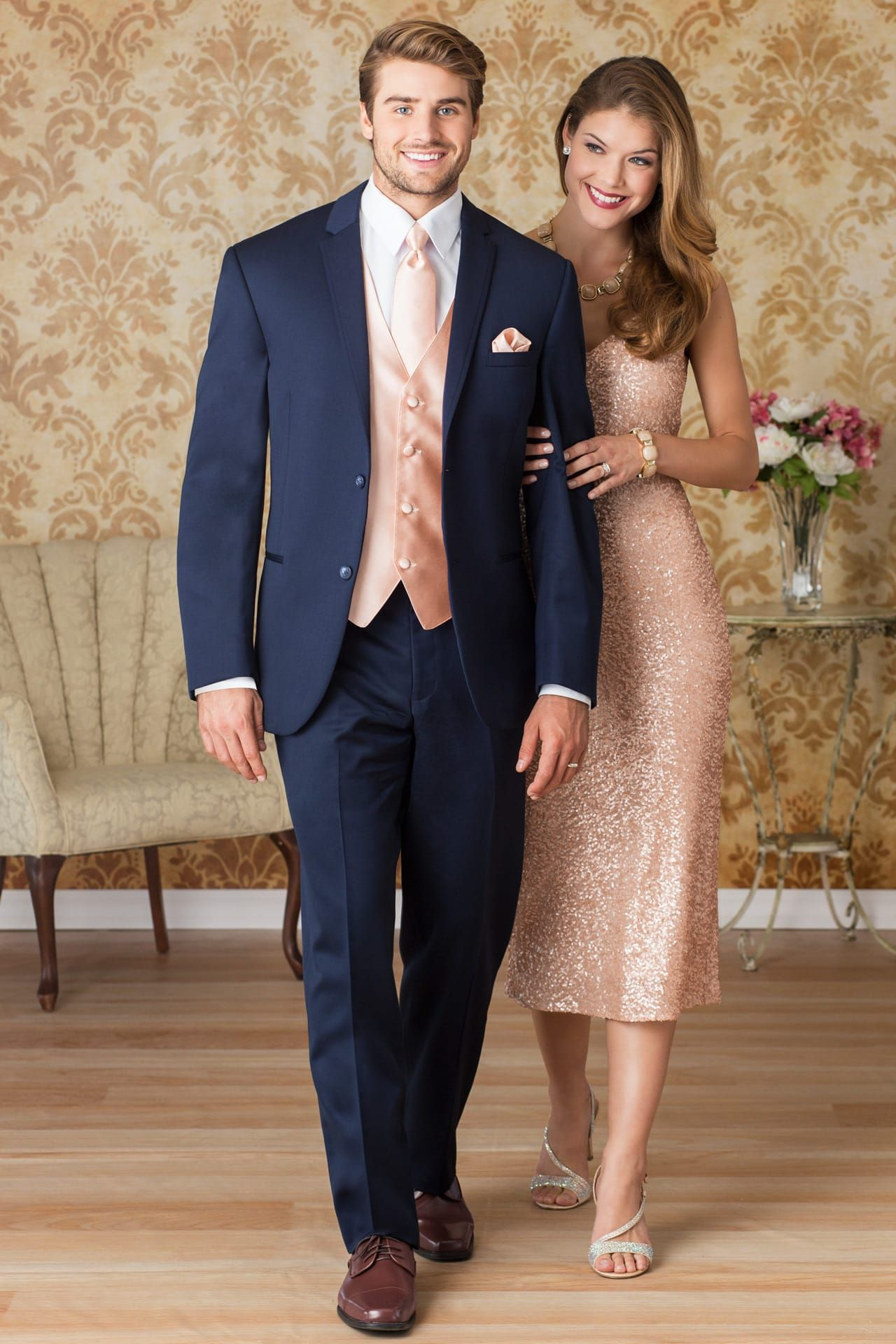 35d8180d7503 Make sure his vest and tie match your rose gold gown. | Rose Gold ...