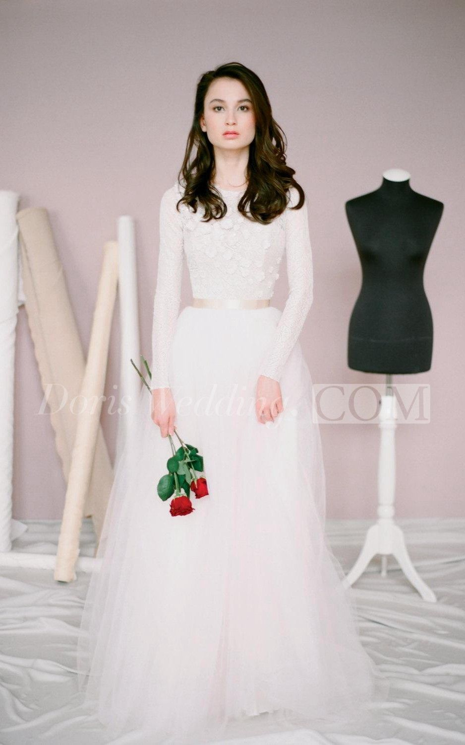 Long Sleeve Lace and Tulle Dress With Jewel Neckline and Petals