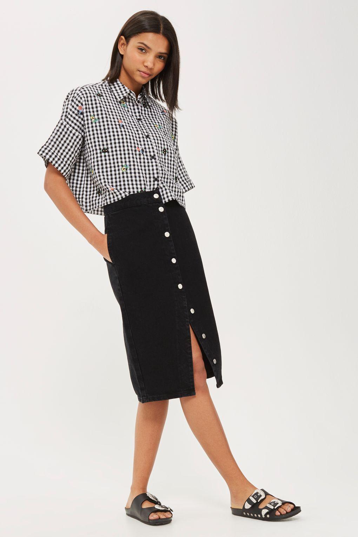 Moto Button Front Denim Midi Skirt Denim Midi Skirt Button Front Denim Fashion