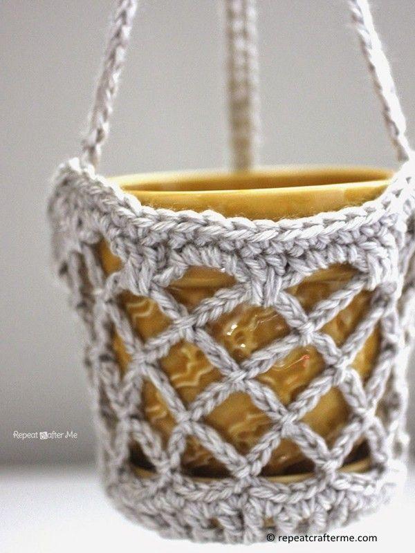 Flower Pot Hanging Basket Crochet Stuff Pinterest Crochet