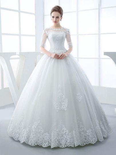 57054fc79146 Half Sleeves Scoop Neck Appliques Beading Ball Gown Wedding Dress   amazing Wedding  Dresses