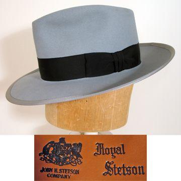 c38d45d2075a8 1940s Dove Gray Royal Stetson Whippet Fedora Hat SZ 7