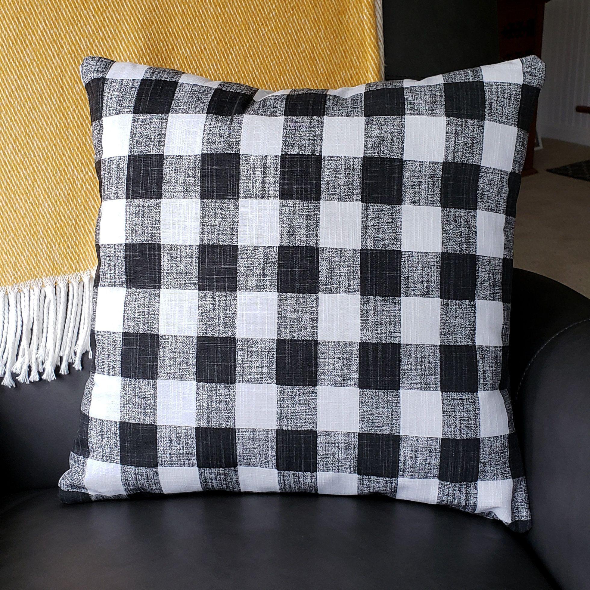 Farmhouse black check throw pillow cover buffalo plaid