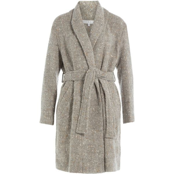 Iro Coat (€270) ❤ liked on Polyvore featuring outerwear, coats, grey, grey coat, short coat, belted coat, grey belted coat and gray coat