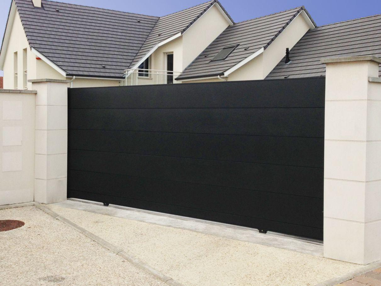 portail alu noir axihome lames de 360mm jardin pinterest portail alu portail et noir. Black Bedroom Furniture Sets. Home Design Ideas