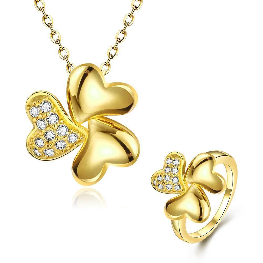 Heart shape pendant necklace ring womenus jewelry set heart shapes