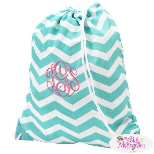 Monogrammed Aqua Chevron Drawstring Bag At The Pink Monogram CUTE ...