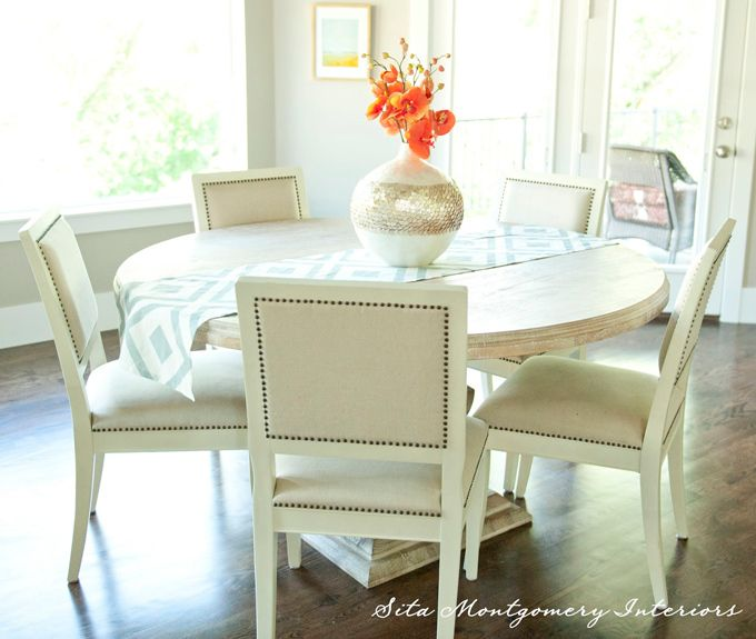 Dining Room   Round White Washed Wood Table, Nail Head Trip Chairs, Bright  Coral