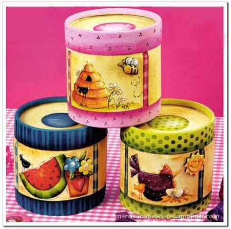 Cajas de cart n decoradas pintura country explicaciones - Pintura para decoupage ...