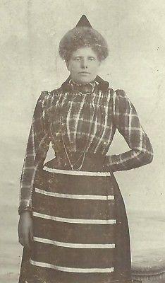 CDV PHOTO SWITZERLAND WOMAN STRIPED DRESS AND HAT