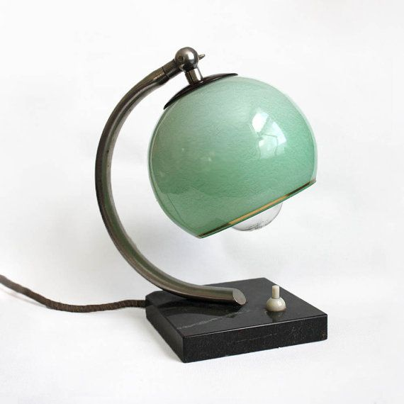 Vintage Art Deco / Bauhaus Style Lamp with a glass