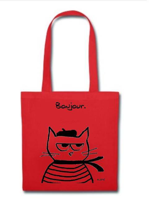 Great tote bag for Cat Lovers! Angry Cat is Terribly French!