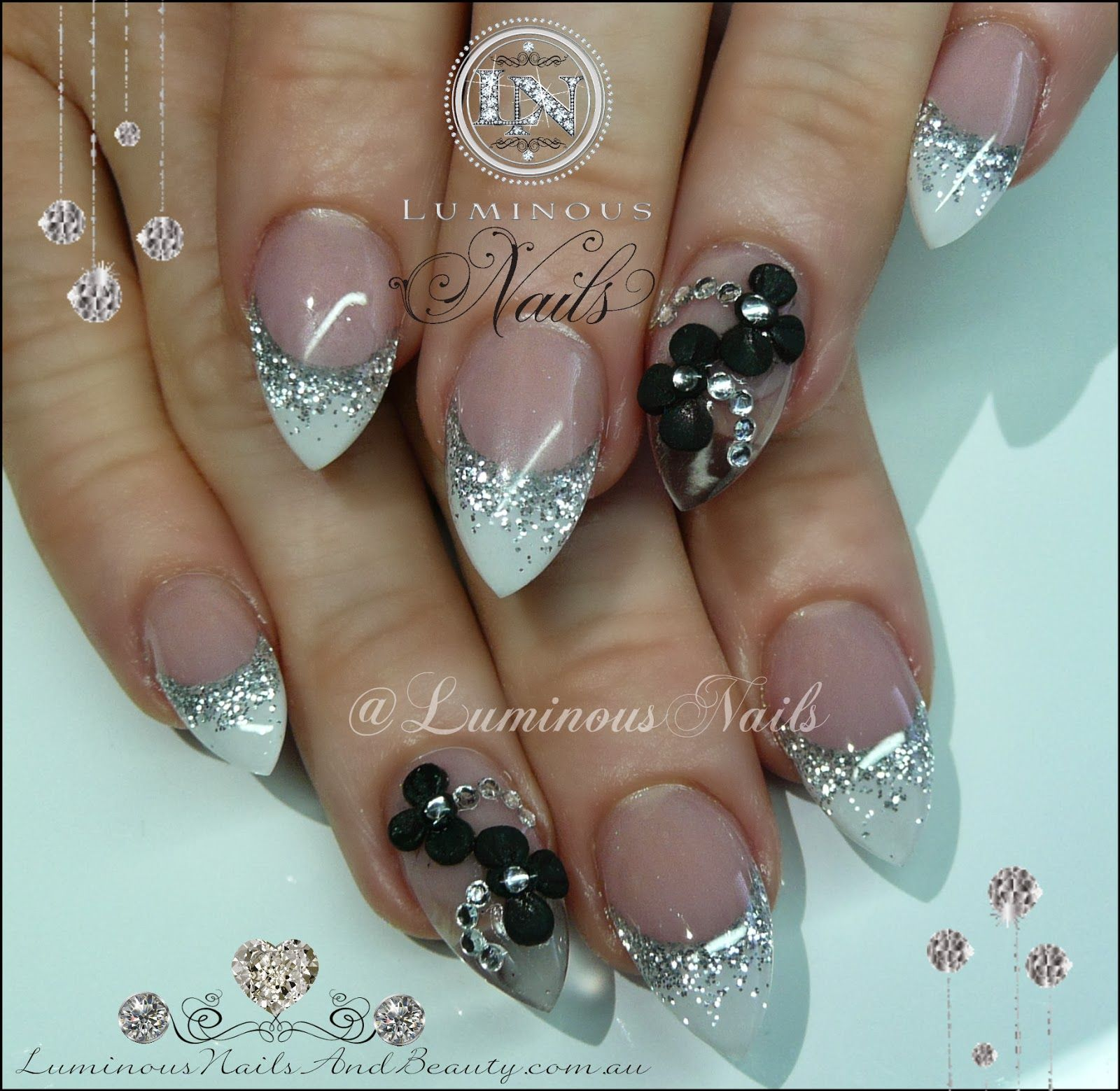 Luminous Nails: White & Silver Nails, Clear/Translucent Feature Nail ...