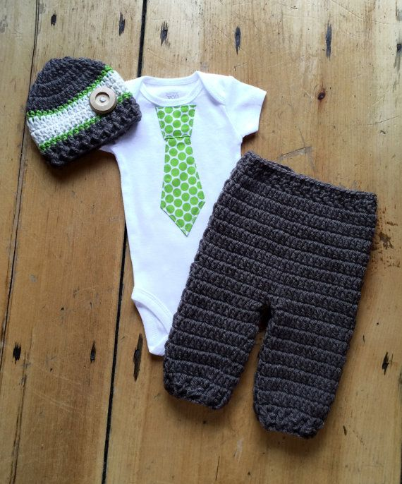 Newborn Boy Coming Home Outfit - Green Polka Dot Tie Shirt w/ Coordinating Crochet Hat and Pant  - Green, Cream, and Taupe - Made To Order