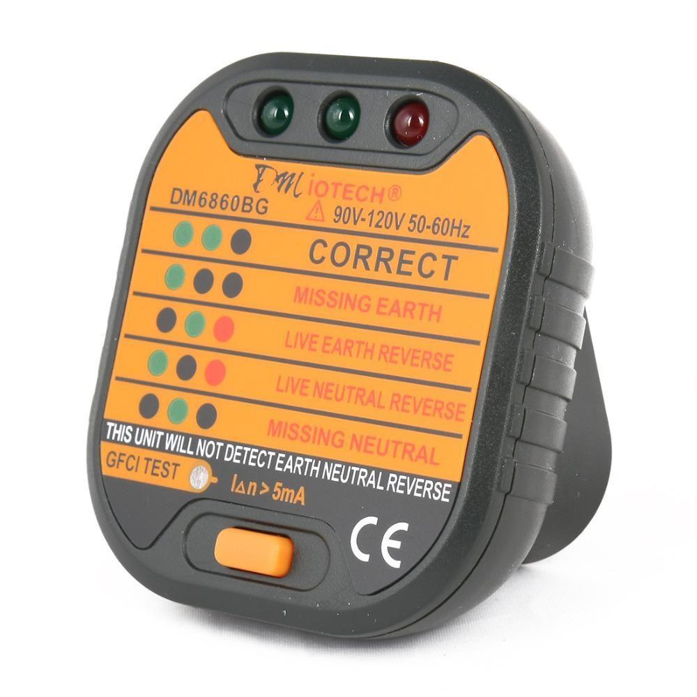 New Hot Sale Dmiotech Pm6860 Us Plug Series Socket Tester W Gfci Test Automatic Electricity Diagnostic Detector Tester 90v 120v Live Earth Wall Plug Gfci
