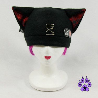 4feaa5bf617ac Pawstar SAFETY PIN KITTY Hat - Cat Ears Plaid Fleece Beanie Red ...