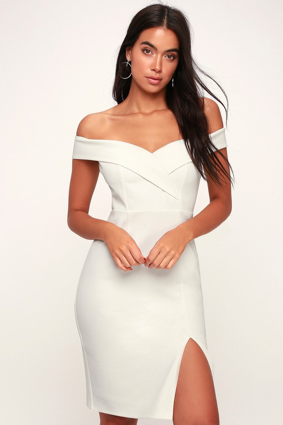 Hit The Town In The Lulus Classic Glam White Off The Shoulder Bodycon Dress An Overlapping Off The Should Bodycon Dress Lace Bodycon Dress White Lace Bodycon