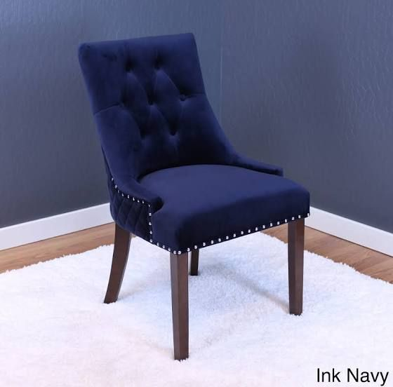 navy blue velvet dining chairs | Tufted dining chairs ...