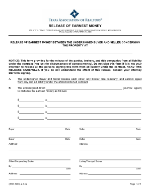 Fill release earnest money form dallasnorthproperties instantly ...