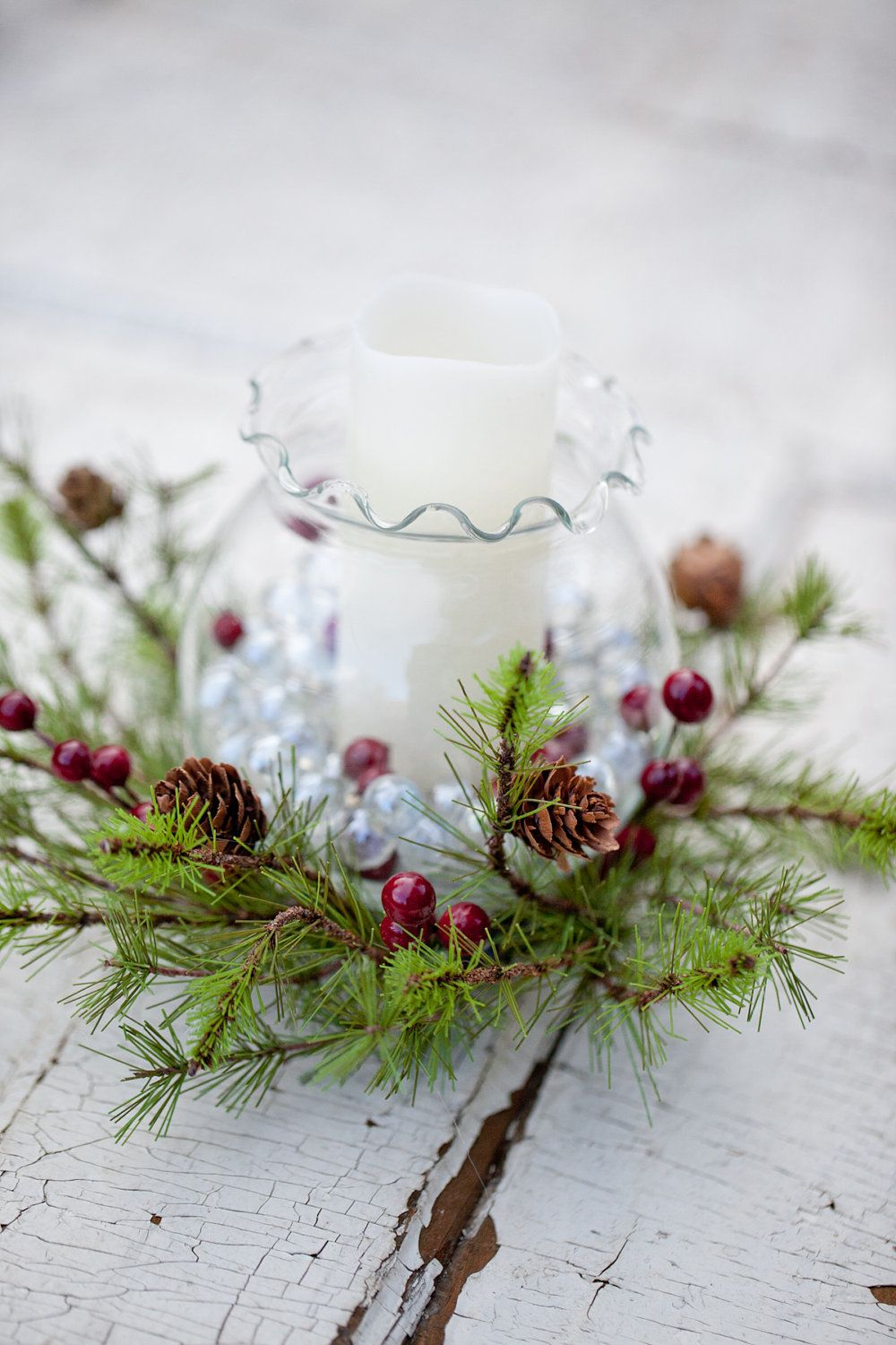 Set of fishbowl christmas centerpiece with led candle via