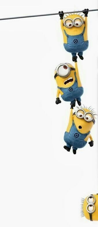 Three Minions Hanging From Wire And Down Below One Minion