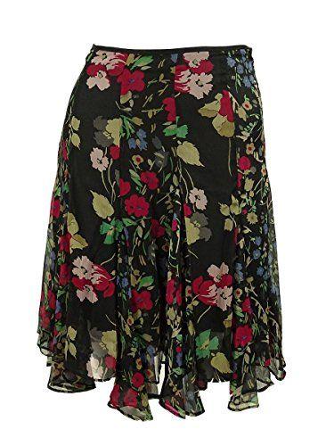 ed8859ed2d Lauren Ralph Lauren Women's Petite Floral Georgette Skirt 8P Black Multi **  Click image to review more details.