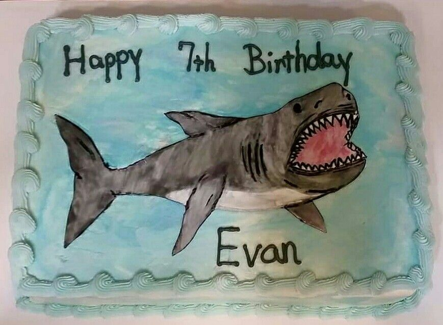 Shark sheet cake I used a template and cut the shark out of fondant ...