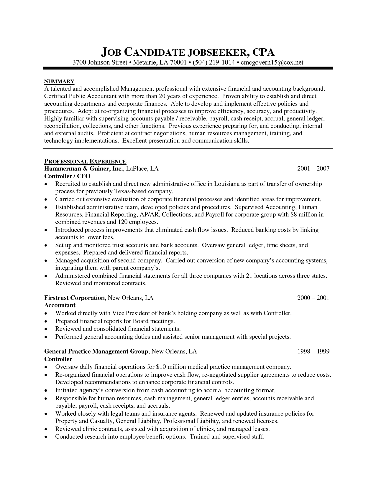 staff accountant resume samples
