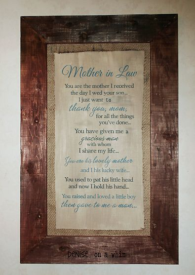 Mother In Law Diy Wall Art With Burlap Mat Mother In Law Gifts Mother Gifts Father In Law Gifts