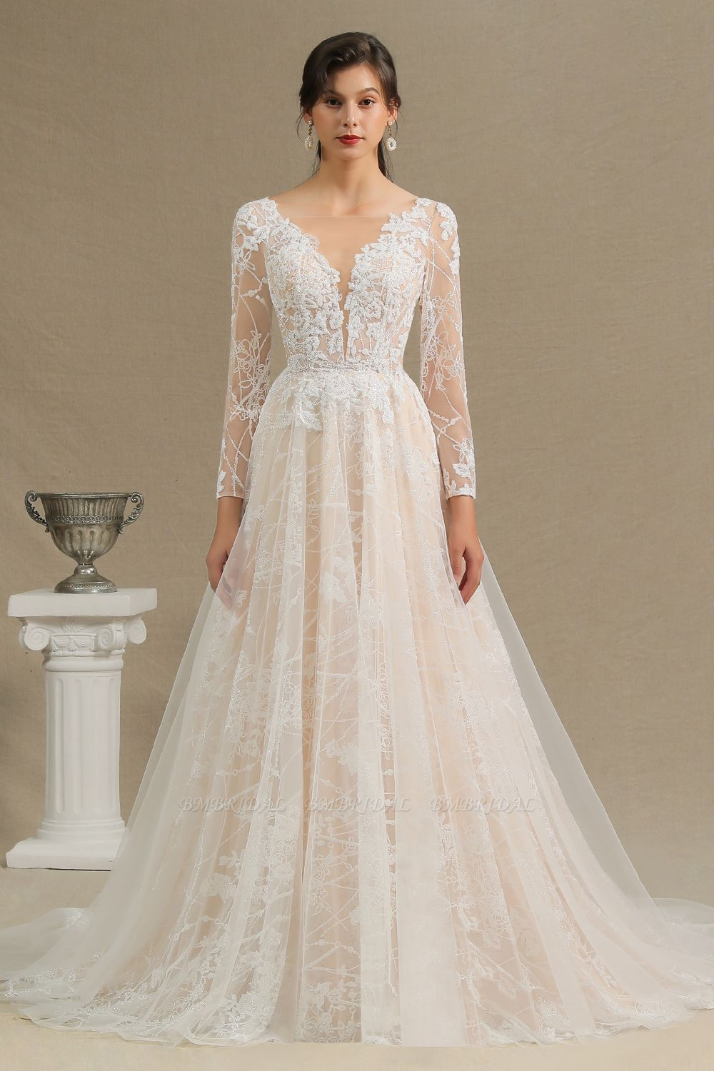 Bmbridal Chic A Line Tulle Lace Wedding Dress Long Sleeves Ivory Bridal Gowns On Sale Long Sleeve Wedding Dress Lace Ivory Bridal Gown Wedding Dresses