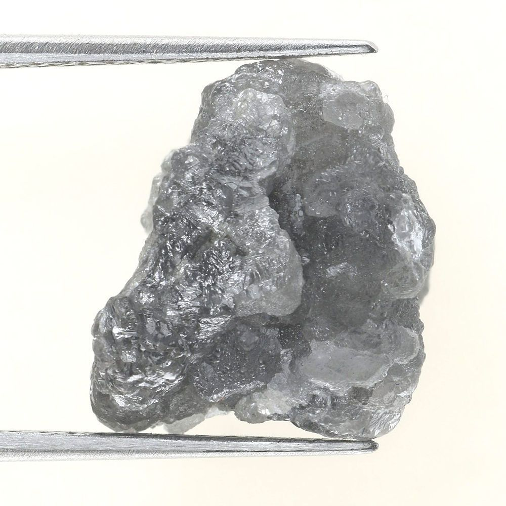 7.28 CARAT ROUGH DIAMOND OUT FROM DIAMOND MINES SILVER GRAY NATURAL DIAMOND