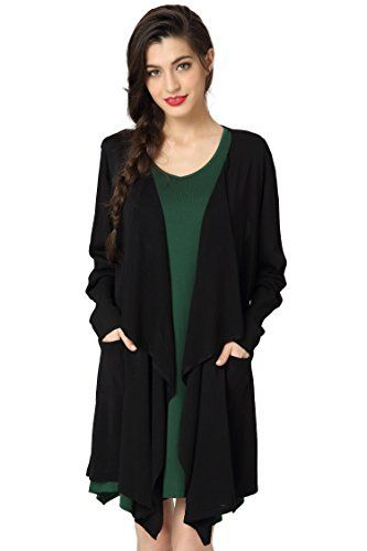 Abollria Women's Lightweight Long Sleeve Open Front Mid Long ...