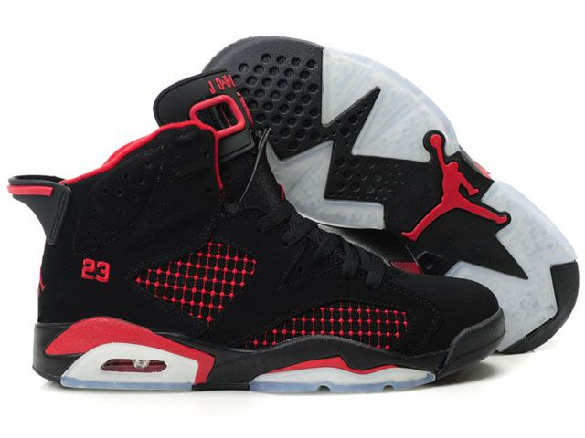 413e070050f6 hot sale nike air jordan 6 women shoes black red wholesale