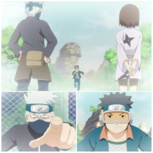 Team Minato, comic, funny, Kakashi, Obito, Rin, young, childhood; Naruto
