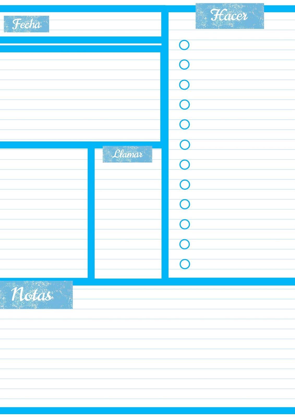 Imprimibles gratis organización. Planificador diario para descargar ...